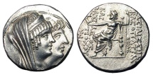 Ancient Coins - SELEUKID KINGDOM.  Cleopatra Thea and Antiochos VIII, 125-121 BC.  Tetradrachm.