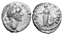Ancient Coins - ANTONINUS PIUS, 138-161 AD.  AR Denarius of Rome 155-6 AD.