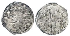 World Coins - SPAIN, Castille and Leon. Juan I, 1379-1390 AD.  AR Cornado (0.84 gm) of Burgos. Crowned bust / Castle.  FAB.566.1.  Toned aXF.