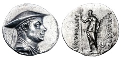 Ancient Coins - BAKTRIAN KINGDOM.  Antimachos, 174-165 BC.  AR Tetradrachm