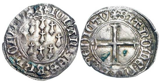 World Coins - FRANCE, Brittany.  Jean V, 1399-1442 AD. AR Blanc aux neuf mouchetures  (3.30 gm) of Nantes.  Nine Ermine tails / Cross.  DuP.270.  Toned VF+