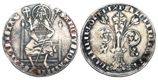 World Coins - ITALY, Florence.  1300-1422 AD.  AR Fiorino Guelfo (2.72 gm), first semester 1307.  Nigi Niotisalvi.   Giglio / John., the Baptist, standing facing.  Bi.793.  Toned VF+.