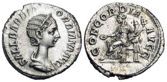 Ancient Coins - ORBIANA, wife of Severus Alexander, 222-235 AD.  AR Denarius (3.12 gm).  Draped bust / Concordia seated holding patera and cornucopiae.  RIC.319.   Toned XF.