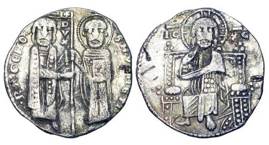 World Coins - ITALY, Venice.  Ranieri Zeno, 1253 - 1268 AD.  AR Grosso (1.84gm).  Saint Mark and the Doge standing, holding flag / Christ enthroned facing.  Paol.19.1.  Toned VF.