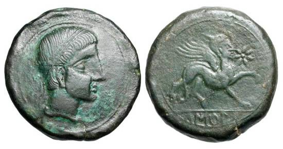 Ancient Coins - SPAIN, Castele.  120-20 BC.  Æ As (24.70 gm).  Diademed head / Sphinx walking.  Bur.550.  VF+, dark green patina.  Large module.
