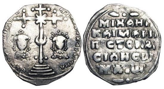 Ancient Coins - BYZANTINE EMPIRE.  Michael VII and Maria, 1071- 1078 AD.  AR Miliaresion of Constantinople.  Crowned busts beneath large cross / Legend.  S.1874.  aVF, clipped.  Scarce.