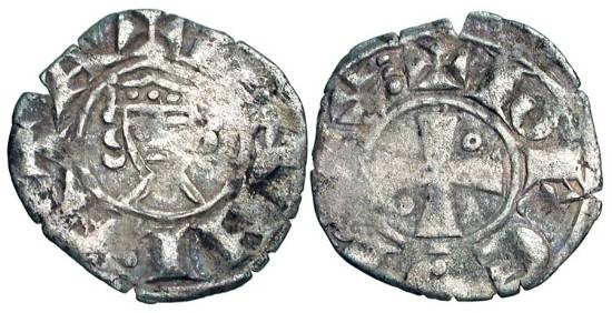 World Coins - JERUSALEM.  John of Brienne, 1210-1225 AD.  AR Denier of Damietta.  Crowned bust facing / Cross with two annulets.  Met.203.  MPS.43.  aVF, usual weak spots.  Scarce.