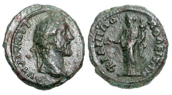 Ancient Coins - THRACE, Philippopolis.  Antoninus Pius, 138-161 AD.  Æ 20 (4.12 gm).  Laureate head right / Concordia standing with patera and cornucopiae.  BMC.8v.   VF, dark brown patina.