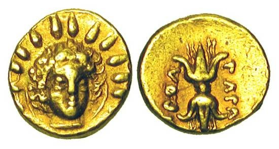 Ancient Coins - CALABRIA, Taras.  334-332 BC.  Gold 1/24 Stater ().45 gm).  Head of Helios facing / Thunderbolt.  HN.906.  aXF.  Rare.