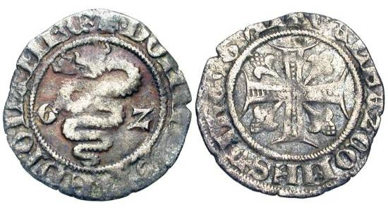 World Coins - ITALY, Milan.  Gian Galeazzo Visconti,  Lord 1378-1395 AD.  Billon Sesino (0.85 gm).  Biscia / Cross with four lis.  Bi.1473  Crippa.2  CNI.6  N&V.102.  VF.