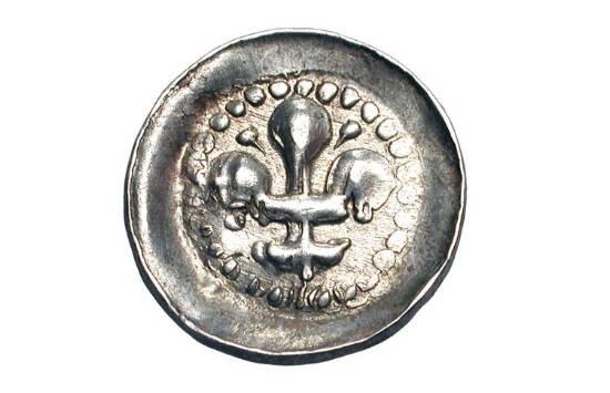 World Coins - FRANCE, Strasbourg.  XIV-XVI Century AD.  AR Lilienpfennig (0.43 gm).  Lis  / Incuse.  Rob.9051.  Toned VF+.