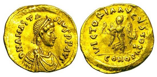 Ancient Coins - BYZANTINE EMPIRE.  Anastasios I, 491-518 AD.  Gold Tremissis (1.43 gm) of Constantinople.  Diademed bust right / Victory standing.  S.8.  VF+.  Scarce.