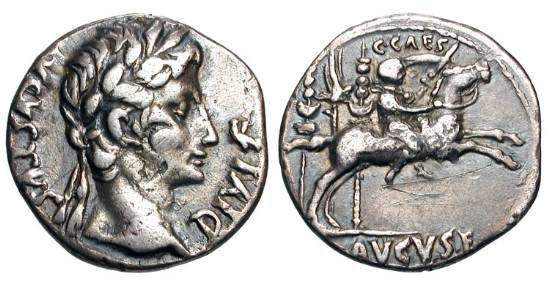 Ancient Coins - AUGUSTUS, 27 BC-14 AD.  AR Denarius (3.76 gm), 8-6 BC.  Laureate head / Caius Caesar on galloping horse before standards.  RSC.40.  RIC.348.  Toned VF.