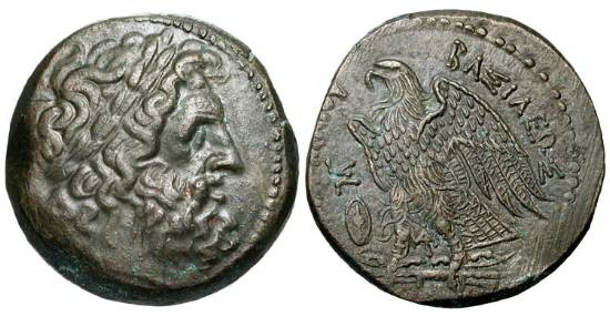 Ancient Coins - PTOLEMAIC KINGDOM.  Ptolemy II, 285-246 BC.  Æ28 (17.90 gm) of Alexandria.  Laureate head of Zeus / Eagle standing, shield in front.  SNG.Cop.119.  aXF, brown patina.