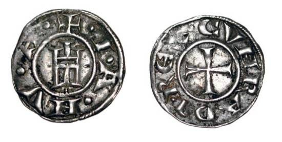 World Coins - ITALY, Genoa.  Republic, XII-XIV Century AD.  AR Grosso da 4 Denari (1.30 gm).  Genoese gate / Cross.  B.837.  Toned VF+.  Scarce.