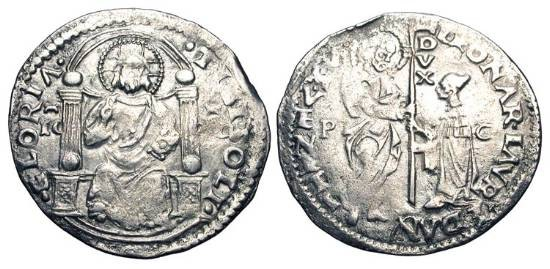 World Coins - VENICE.  Leonardo Loredano 1501-1521 AD.  AR Marcello (3.10 gm).  Doge, with banner, kneeling before St. Mark / Christ enthroned facing.  Paol.55.3.   Toned VF.