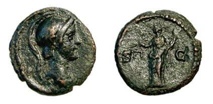 Ancient Coins - ANONYMOUS, 81-161 AD.  Æ Quadrans (2.18 gm).  Helmeted head of Roma / Aequitas standing with scales and cornucopiae.  RIC.12(S).  VF+, dark brown patina.  Scarce.