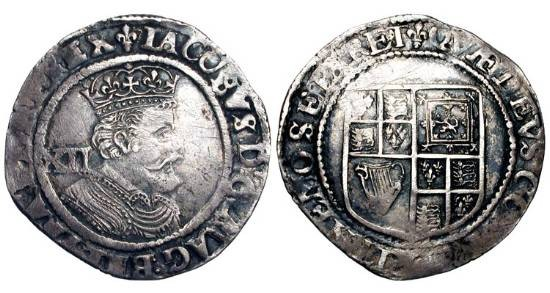 World Coins - ENGLAND.  James I, 1603-1625 AD.  AR Shilling (5.90 gm) of London.  Crowned bust right / Arms.  S.2668.  Toned VF+.  Scarce.