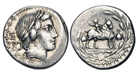 Ancient Coins - ROMAN REPUBLIC. Mn. Fonteius C. f. 85 BC. AR Denarius (3.92 gm). Laureate bust of Vejovis / Genius riding goat within wreath. Fonteia.11. Cr.353/1d.   Toned VF+.