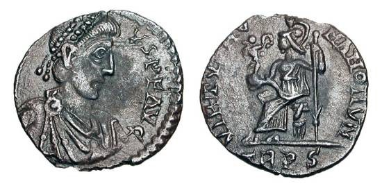 Ancient Coins - EUGENIUS, 392-394 AD.  AR Siliqua (1.28 gm) of Trier.  Diademed draped bearded bust / Roma seated holding Victory and spear.  RSC.14†a.  RIC.106(d)(S).  Toned VF+