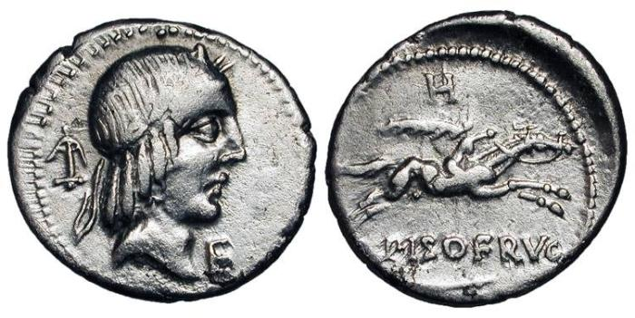 Ancient Coins - ROMAN REPUBLIC. C.  Piso L. f. Frugi, 67 BC.  AR Denarius (3.80 gm).  Laureate head of Apollo / Horseman galloping, holding palm.  Calpurnia.24.  Cr .408.  Toned VF.