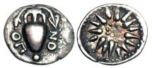 Ancient Coins - LOKRIS OPUNTIA.  375-350 BC. AR Obol.  ex Sellwood collection.