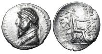 Ancient Coins - PARTHIA.  Artabanos I (III by Sunrise), 127-124 BC.  AR Drachm.