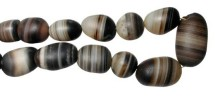 """Ancient Coins - Banded Agate Bead Necklace.  Middle East, I Millenium BC.  Brown and cream banded agate bead necklace.  16"""" long, on modern opversized knotted string."""