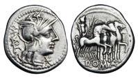 Ancient Coins - ROMAN REPUBLIC.  M. Vargunteias,  130 BC.  AR Denarius.