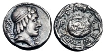 Ancient Coins - ROMAN REPUBLIC.  M. Caecilius Q.f. Q.n. Metellus,   restored issue, 82-80 BC.  AR Denarius.   ex. John Roberts-Lewis collection.