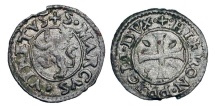 World Coins - CYPRUS, under Venice.  Gerolamo Priuli, 1559-1567 AD.  Billon Carzia (0.48 gm). Lion / Cross.  P.914(R).  Toned VF+.  Rare.
