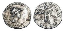 Ancient Coins - BAKTRIAN KINGDOM.  Menander I Soter, 155-130 BC.  AR Drachm.
