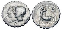 Ancient Coins - ROMAN REPUBLIC.  C. Sulpicius C. f. Galba, 106 BC.  AR Denarius.