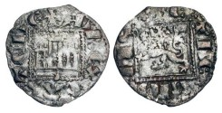 World Coins - SPAIN, Castile and Leon  Alfonso XI, 1312-1350 AD.  Billon Noven (0.69 gm) of La Coruña.  Castle in square / Lion in square.  FAB.356.  Toned VF.  Scarce.