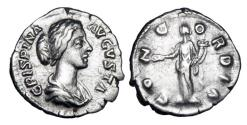 Ancient Coins - CRISPINA, wife of Commodus,  died 183 AD.  AR Denarius.