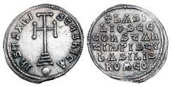 Ancient Coins - BYZANTINE EMPIRE.  Basil I, 867-886 AD.  AR Miliaresion.