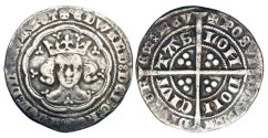 World Coins - ENGLAND.  Edward III, 1327-1377 AD.  AR Groat  of London, Treaty period. Crowned bust facing in tressure, annulet before EDW... / Long cross with three pellets in each angle.  …