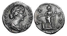 Ancient Coins - FAUSTINA JUNIOR, wife of Marcus Aurelius, d. 174 AD.  AR Denarius …