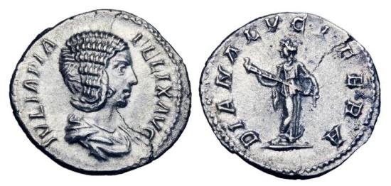 Ancient Coins - JULIA DOMNA, wife of  Septimius Severus, d. 217 AD.  AR Denarius.   ex. John Roberts-Lewis collection.