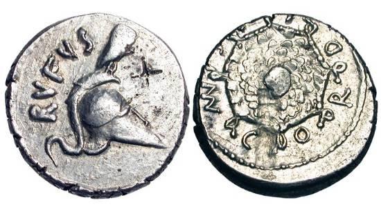 Ancient Coins - ROMAN REPUBLIC.  Mn. Cordius Rufus, c. 46 BC.  AR Denarius.  Owl standing on Corinthian helmet / Aegis of Minerva with head of Medusa in center.  Cr.463/2.  aXF, flan flaw on rev.