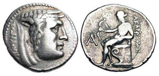 Ancient Coins - AKARNANIAN LEAGUE.  250-200 BC.  AR Stater (9.90 gm).  Head of river-god Achelous / Apollo Aktios seated holding bow.  SNG.Cop.419.  I-B.22  BCD.21.  Toned VF.  Scarce.