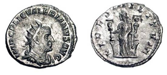 Ancient Coins - VALERIAN I, 253-260 AD.  AR Antoninianus (3.16 gm).  Radiate draped bust / SFides standing holding two standards.  RSC.65.  Toned aXF.