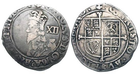 World Coins - ENGLAND.  Charles I, 1625-1649 AD.  AR Shilling, i. m.  Anchor , Tower mint  1638-9 AD.  Crowned draped bust / Cross over square topped shield of arms.  S.2794.  Toned aVF.