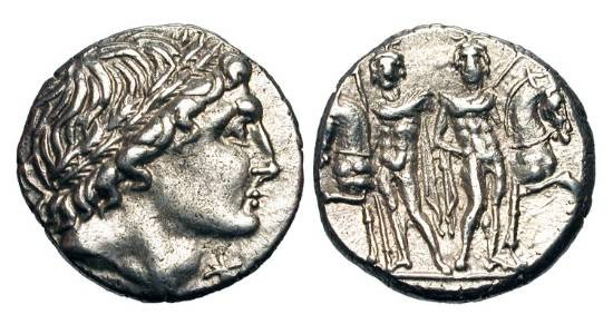 Ancient Coins - ROMAN REPUBLIC.  L. Memmius, 109-108 BC.  AR Denarius (3.35 gm).  Head wearing oak-wreath / The Dioscuroi standing, holding horses.  Memmia.1.  Cr.304/1.  VF+.