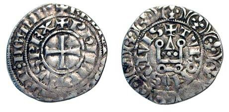 World Coins - FRANCE. Philip IV le Bel, 1285-1314 AD.    AR Maille tierce à l'O rond (3.12 gm).  Cross / Châtel tournois, CIVIS. .  D.219Dv.  Toned  VF.
