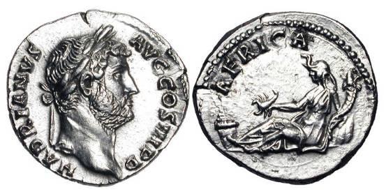 Ancient Coins - HADRIAN, 117-138 AD.  AR Denarius.  Laureate head / Africa reclining holding scorpion and cornucopiae, basket of fruit at left.  RSC.138.  RIC.299.  XF.