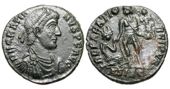 Ancient Coins - GRATIAN, 367-383 AD.  Æ 2 (4.89 gm) of Siscia.  Diademed draped bust / Emperor raising kneeling figure.  RIC.26a.  aXF, dark green patina.