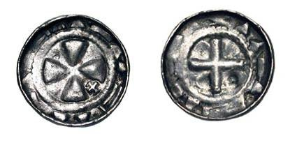 World Coins - POLAND.  Bishops, XI Century AD.  AR Penny (0.93 gm).  Cross with small cross in one angle / Cross of triangles, with cross in one angle.  Gum.48v.  Toned aXF.