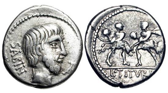 Ancient Coins - ROMAN REPUBLIC.  L. Titurius L.f. Sabinus, 89 BC.  AR Denarius (3.86 gm).  Head of the Sabine king Tatius / Two soldiers, each carrying a Sabine woman.  Tituria.1.  Cr.344/1b.