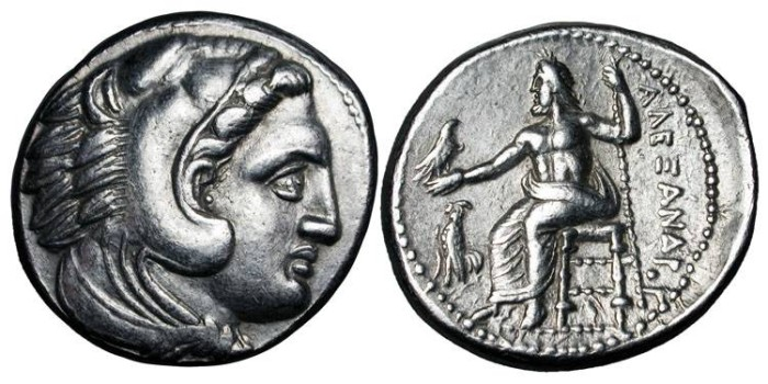 Ancient Coins - KINGDOM OF MACEDON.  Alexander III, 336-323 BC.  AR Tetradrachm (17.12 gm) of Macedonia.  Head of Herakles wearing lion-skin / Zeus enthroned, cock.    Pr.79.  XF.  Lifetime issue.